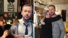 Ryan Gosling Finally Visits Cafe That Tried To Lure Him With Cardboard Cutout