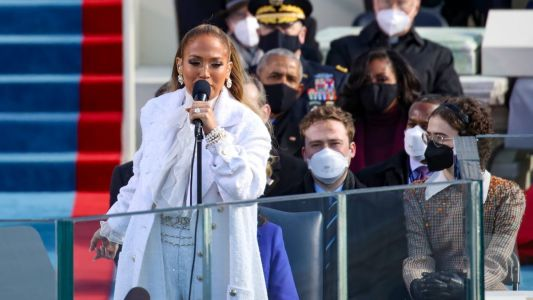 Jennifer Lopez Wears White Chanel Sequins to Perform at Inauguration