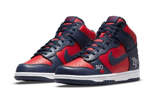 """Official Look at the Supreme x Nike SB Dunk High """"By Any Means"""" in """"Navy/Red"""""""
