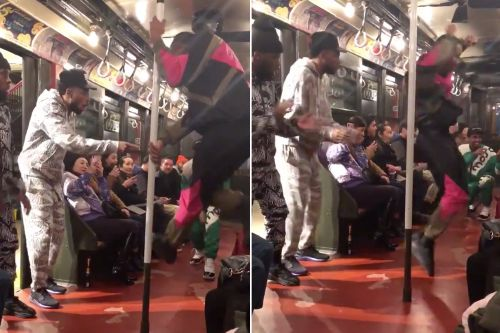 Moschino holds fashion show on NYC subway with 'It's Showtime' dancers