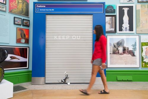 Banksy Repurposes EU Customs Gate for Anti-Brexit 'Keep Ou' Installation