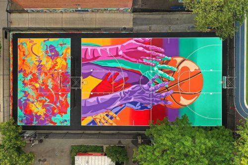 MADSTEEZ Unveils Massive Basketball Court Murals in Brooklyn