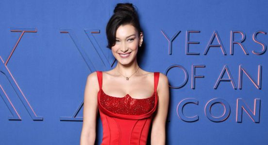 Bella Hadid Is a Damn Dream Girl in This Red Versace Dress