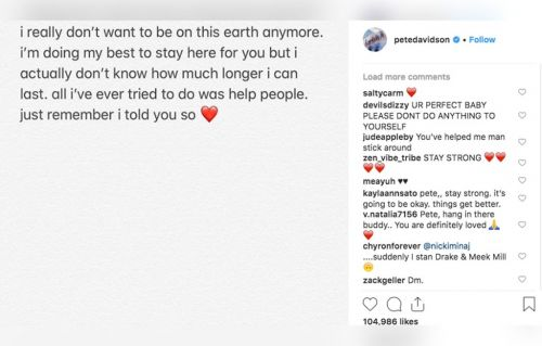 Pete Davidson Shares Disturbing Instagram Post - 'I Really Don't Want To Be On This Earth Anymore'