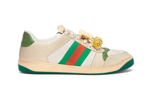 A Cherry-Embellishment Decorates Gucci's Latest Screener Trainers