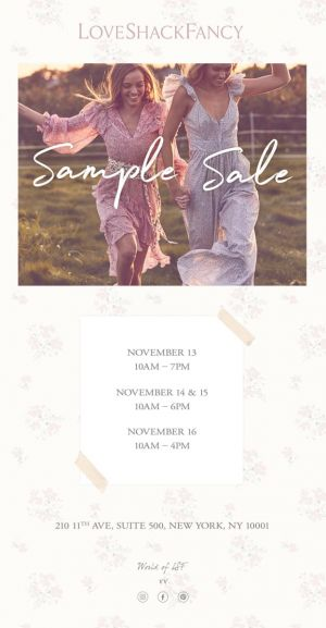 LoveShackFancy Sample Sale, 11/13 - 11/16 - New York, NY