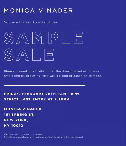 Monica Vinader's First Ever New York Sample Sale, 2/28 from 9AM- 8PM