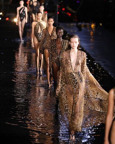 Models literally walked on water at Saint Laurent