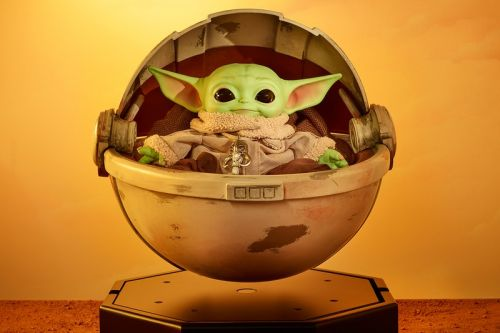 One-Off Baby Yoda Plush and Working Hover Pram Head to Auction