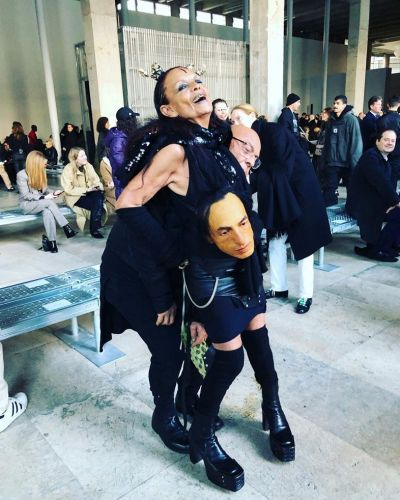 Michele Lamy wore Rick Owens' head to fashion week