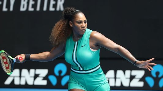 Serena Williams Played Tennis in a Turquoise Leotard and Fishnet Tights