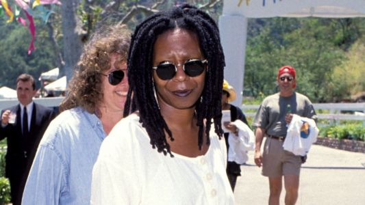 Great Outfits in Fashion History: Whoopi Goldberg in a Sack Dress and Birkenstock Bostons