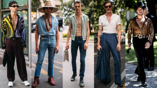 A Bit of a Bare Chest Was a Street Style Hit Milan Fashion Week Men's