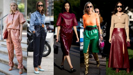 Showgoers Wore Colorful Leather Looks Over the Weekend at Milan Fashion Week