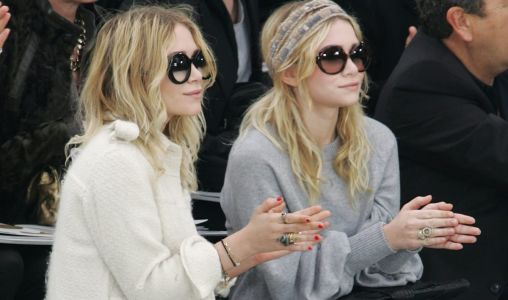 Great Outfits in Fashion History: Mary Kate and Ashley Olsen Front Row at Chanel in Big, Round Sunglasses