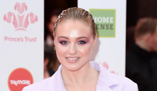 Iskra Lawrence Looks Fierce in a Lilac Pantsuit and Matching Makeup Look