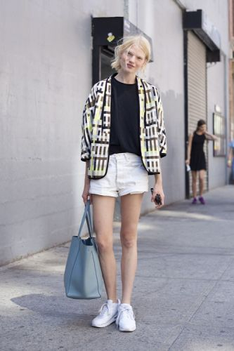 Throw a printed jacket over monochrome basics and team with