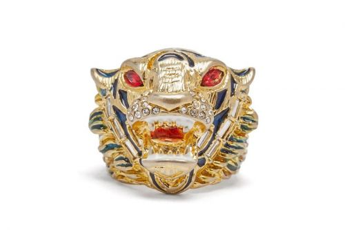 Gucci Drops Antique Gold Crystal-Embellished Tiger Head Ring