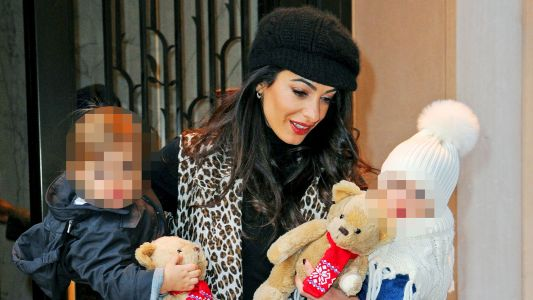 Amal Clooney Takes Her Twins Ella & Alexander For An Afternoon Stroll In NYC