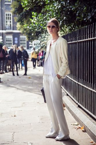 Pair slouchy cream separates with a plain white tee for a