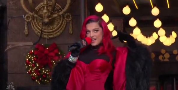 Bebe Rexha Stuns in a Sexy Red Bodysuit and Massive Fur Cape at the 2020 Thanksgiving Day Parade