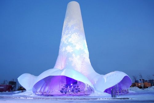 Engineers Build World's Tallest Ice Tower in China