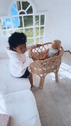 True Thompson Plays With Baby Dolls 'KoKo and TuTu' Outside With Mom Khloe Kardashian