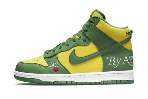 """Official Look at the Supreme x Nike SB Dunk High """"By Any Means"""" in """"Brazil"""""""