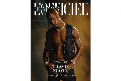 Travis Scott Wears Supreme, Saint Laurent & Chrome Hearts in 'L'Officiel Hommes Italia' Cover