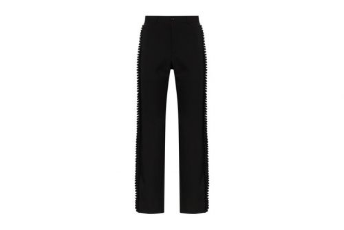 CDG HOMME PLUS Adds Pleated Satin Trims to Classic Wool Trousers