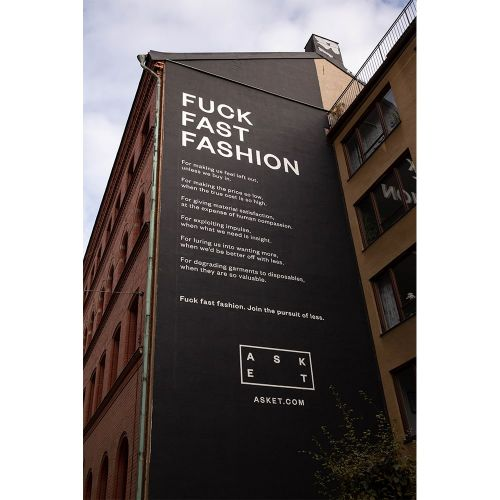 Asket Show a Middle Finger to Fast Fashion With A Mural In Stockholm's Shopping District