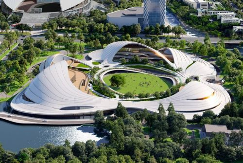 MAD Takes Inspiration From the Movements of the Wind for Jiaxing Civic Center's New Roof