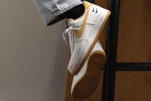 """Nike's Air Force 1 """"White/Light Ginger/Black"""" Doubles up on Swooshes"""